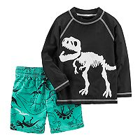 Toddler Boy Carter's Dinosaur Rash Guard & Swim Trunks Set