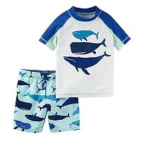 Toddler Boy Carter's Whales Rash Guard & Swim Trunks Set
