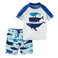 Toddler Boy Carter's Whales Rash Guard & Swim Trunks Set