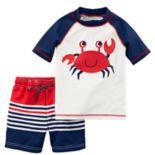 Toddler Boy Carter's Crab Rash Guard & Striped Swim Trunks Set