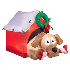 National Tree Company 44 in Inflatable Dog House Indoor / Outdoor Christmas Decor