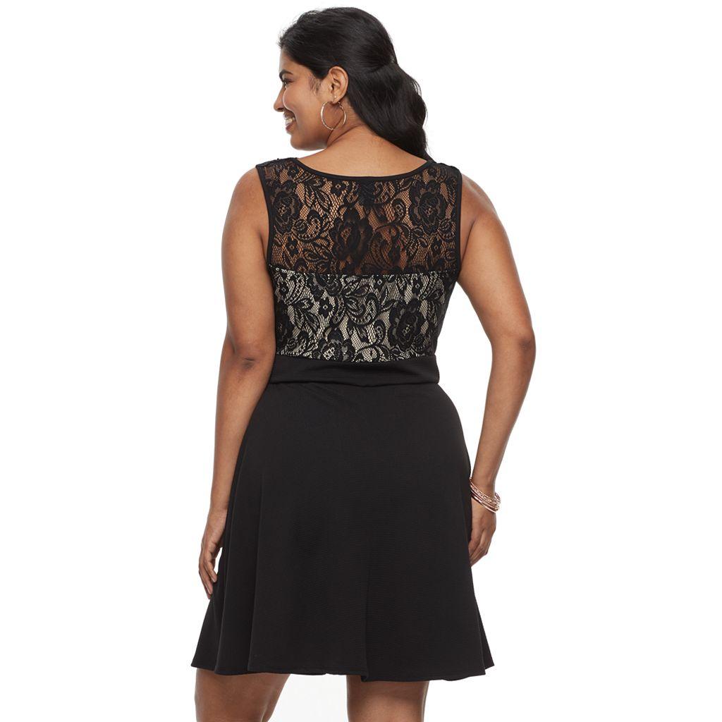 Juniors' Plus Size Wrapper Illusion Lace Fit & Flare Dress