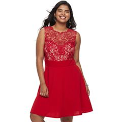 Juniors' Plus Size Wrapper Illusion Lace Fit & Flare Dress