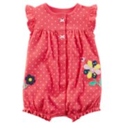 Baby Girl Carter's Polka-Dot Flower Romper