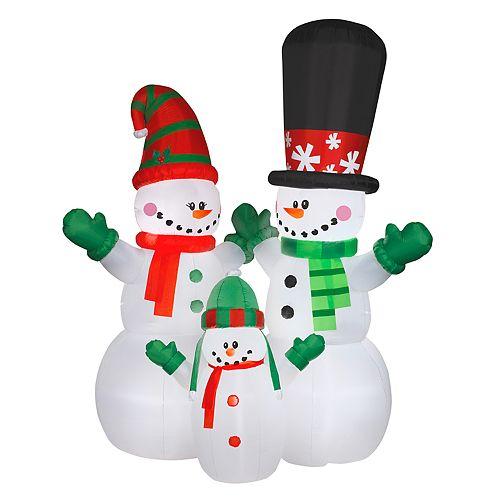 inflatable snowman family indoor outdoor christmas decor - Indoor Snowman Christmas Decorations