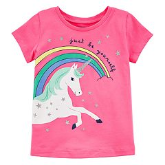 Toddler Girl Carter's 'Just Be Yourself' Unicorn Glitter Tee