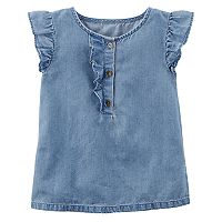 Toddler Girl Carter's Ruffle Denim Top