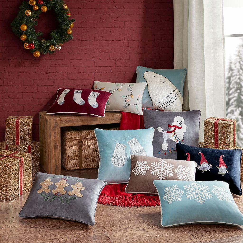 Madison Park Winter Snow Mittens Throw Pillow