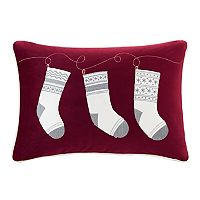 Madison Park Holiday Stocking Surprise Oblong Throw Pillow