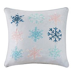 Madison Park Minty Snowflakes Throw Pillow