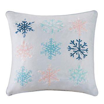 Madison Park Minty Snowflakes Throw Pillow