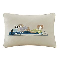 Madison Park Holiday Sledding Dogs Oblong Throw Pillow