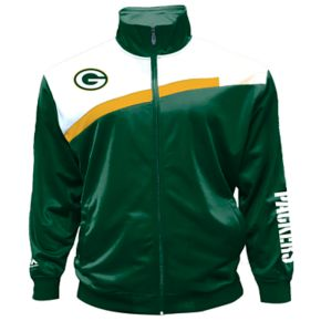 Big & Tall Majestic Green Bay Packers Striped Tricot Track Jacket