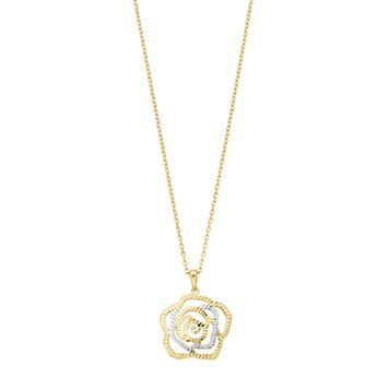 Two Tone 14k Gold Rose Pendant Necklace