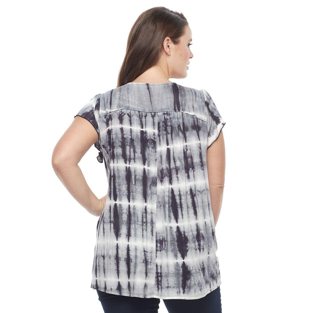 Plus Size World Unity Tie-Dye Flutter Top