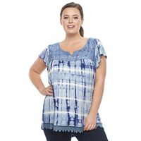 Plus Size World Unity Tie-Dye Flutter Top