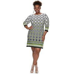 Plus Size Suite 7 Circles & Stripes Shift Dress