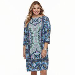 Plus Size Suite 7 Floral Medallion Shift Dress