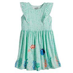 Disney's Finding Nemo Nemo, Dory & Marlin Girls 4-10 Pom-Pom Ruffle Trim Flutter Dress by Jumping Beans®