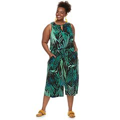 Plus Size Suite 7 Palm Tree Crop Jumpsuit