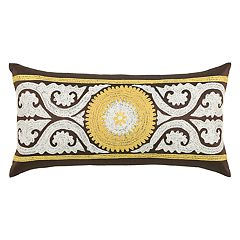 Rizzy Home Medallion Scrollwork Embroidered Oblong Throw Pillow