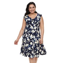 Plus Size Suite 7 Floral Ruffle Dress