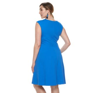 Plus Size Suite 7 Side Panel Fit & Flare Dress