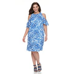 Plus Size Suite 7 Cold-Shoulder Dot Shift Dress