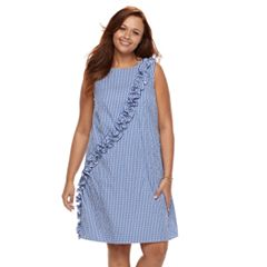 Plus Size Suite 7 Ruffle Shift Sleeveless Dress