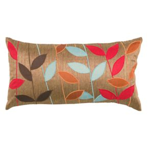 Rizzy Home Leaves Applique Oblong Throw Pillow