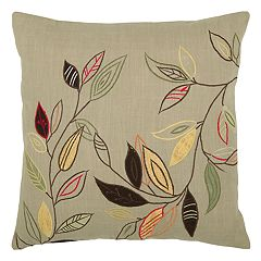 Rizzy Home Leaves on Stems Applique Embroidered Throw Pillow