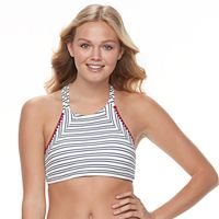 Mix and Match Textured Striped High-Neck Bikini Top