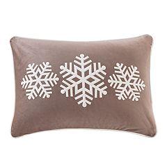 Madison Park Velvet Snowflake Trio Oblong Throw Pillow