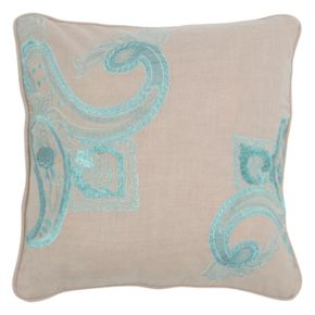 Rizzy Home Paisley Floral Embroidered Throw Pillow