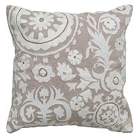 Rizzy Home Medallion Floral Applique Embroidered Throw Pillow