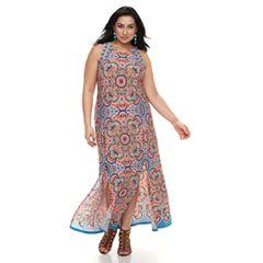 Plus Size Suite 7 Slit Maxi Dress