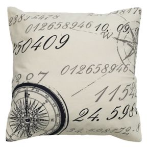 Rizzy Home Compass Script Printed Throw Pillow