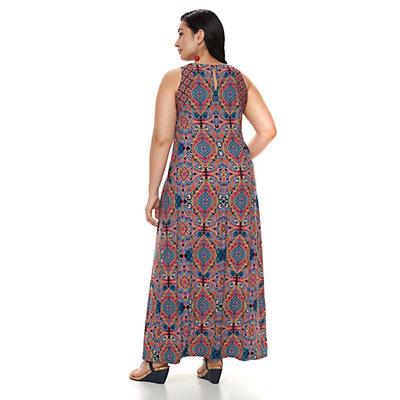 Plus Size Suite 7 Technicolor Tile Maxi Dress