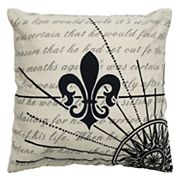 Rizzy Home Fleur de Lis Script Printed Throw Pillow