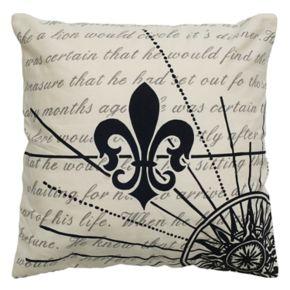 Rizzy Home Fleur de Lis Script Printed Throw Pillow