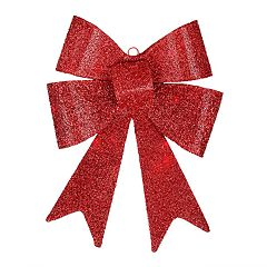 17-in. Light-Up Red Bow Wall Christmas Decor