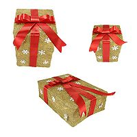 Northlight Pre-Lit Sisal Snowflake Gift Box Indoor / Outdoor Christmas Decor 3 pc Set