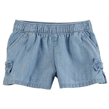 Baby Girl Carter's Chambray Bow Pull-On Shorts