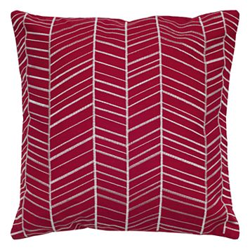 Rizzy Home Lined Geometric Embroidered Throw Pillow