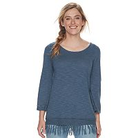 Women's SONOMA Goods for Life™ Fringe-Hem Scoopneck Sweater