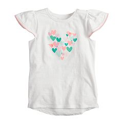 Girls 4-10 Jumping Beans® Flutter Sleeve Pom Trim Printed Tee