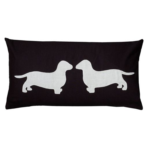 Rizzy Home Dogs Applique Embroidered Oblong Throw Pillow
