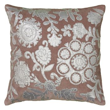 Rizzy Home Floral Medallion Applique Embroidered Throw Pillow