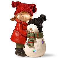 National Tree Company 15-in. Light-Up Girl & Snowman Floor Decor