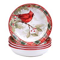 Certified International Winter Field Notes Cardinal 4-pc. Soup/Pasta Bowl Set